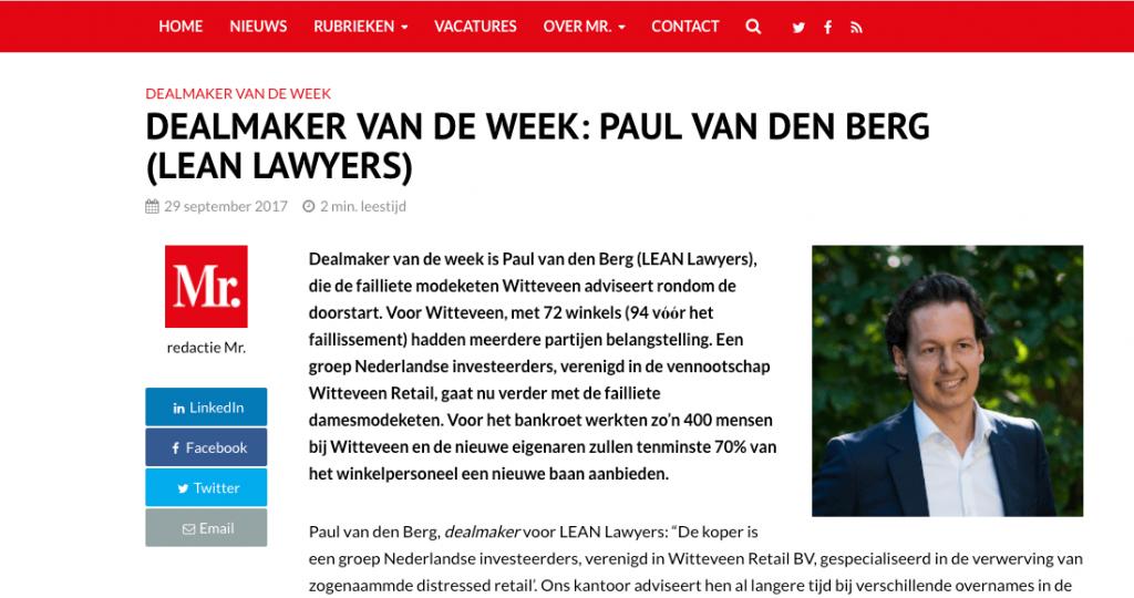 Dealmakers van de week