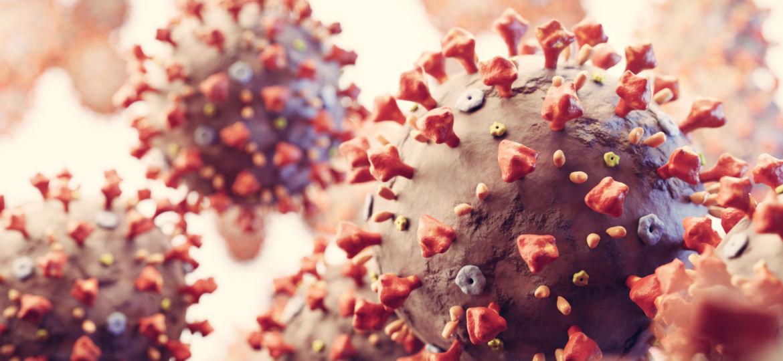 Coronavirus cells in microscopic view. Virus from Wuhan